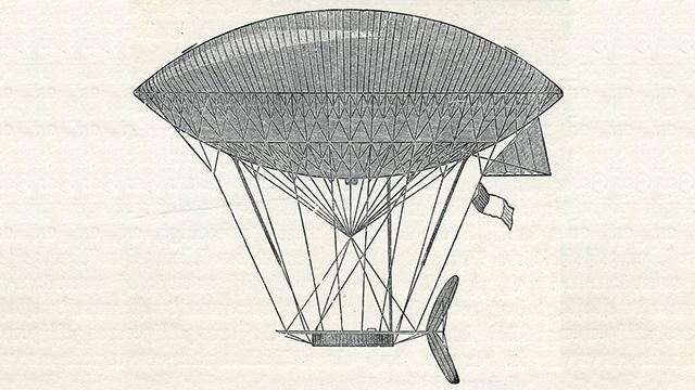 Croquis de dirigeable par Henri Dupuy de Lôme