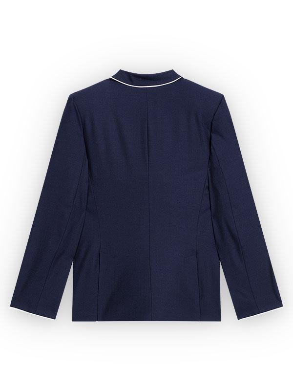 Blazer Femme vue de Dos, bordure de tombant de col en satin blanc, blazer en laine mélangée bleue marine