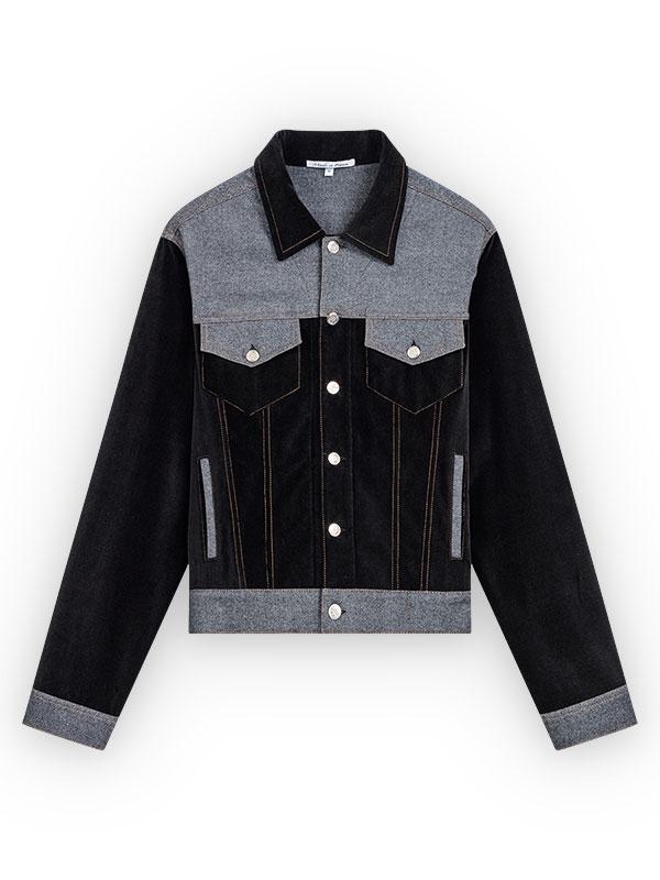Veste devant en velours noir, empiècement carrure devant + rabats de poches poitrine + ouvertures de poche raglan +ceinture + poignets en laine grise, bouton milieu devant et poches poitrine en métal