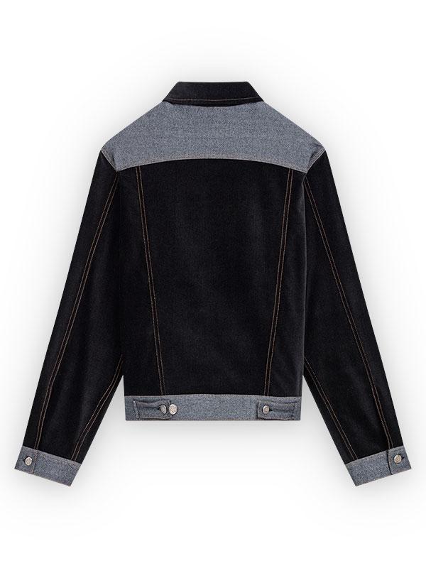 Veste Dos en velours noir, empiècement carrure dos + ceinture et poignets en laine grise, boutons de réglages ceinture et poignets en métal.