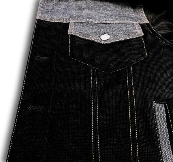 Veste devant en velours noir, empiècement carrure devant + rabats de poches poitrine