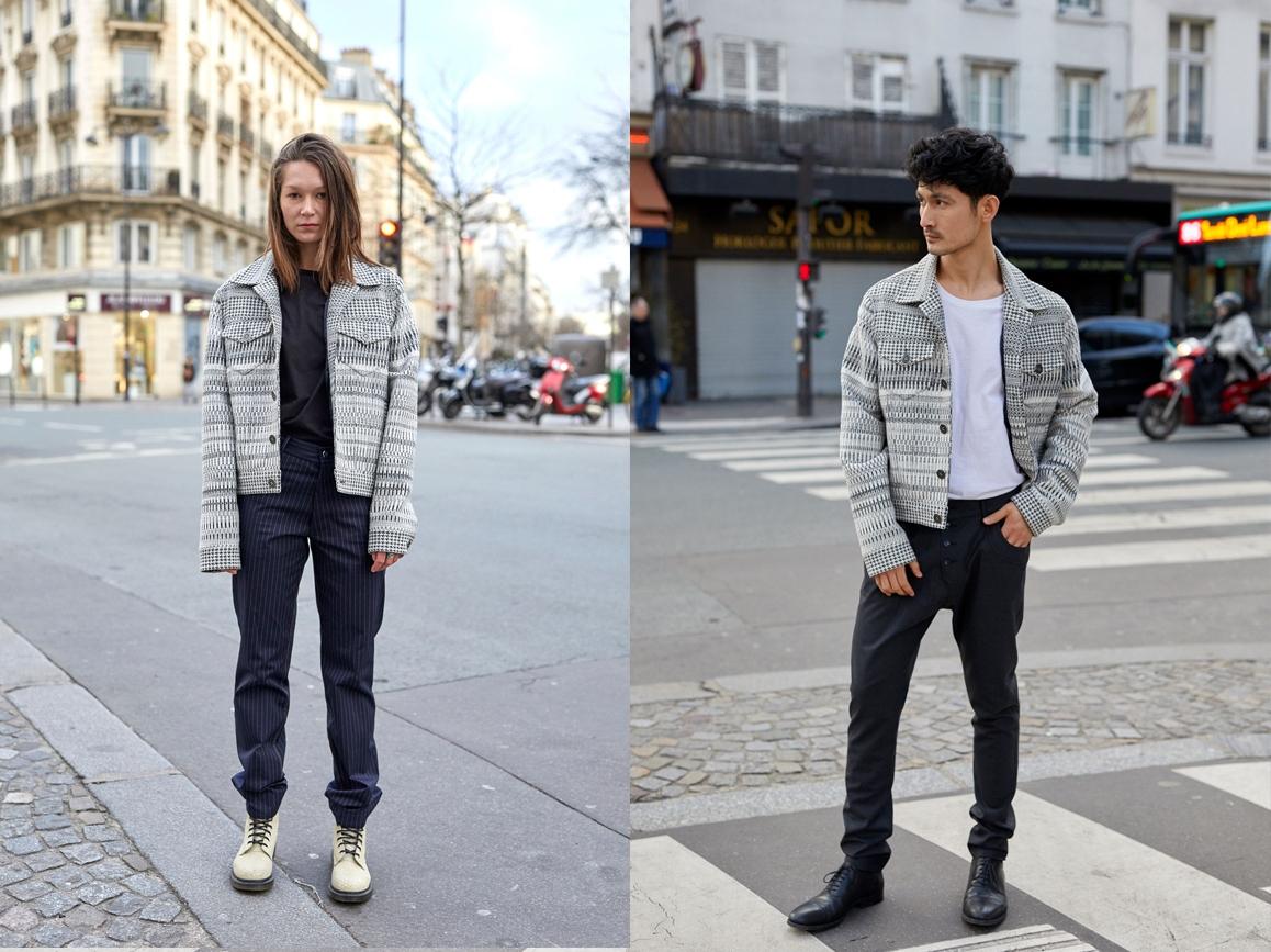 Le mannequin Femme porte une Veste Piano et un Pantalon Jean Gangster, et le mannequin Homme porte une Veste Piano et un Boyfriend en laine strech gris anthracite