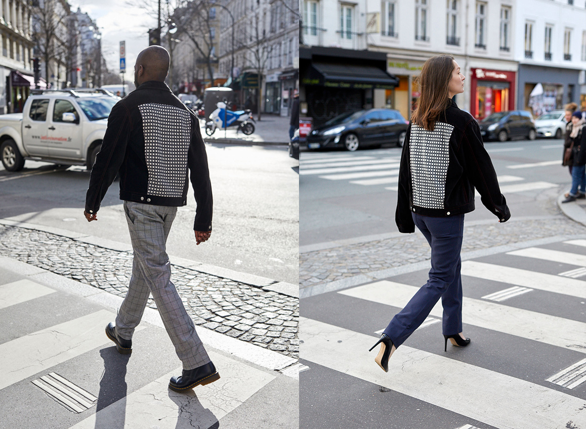 Veste Noir Velours Dos N&B portée par un homme et une femme